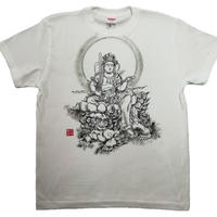 【手描きTシャツ】文殊菩薩 白 綿生地