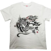 【手描きTシャツ】麒麟 白 綿生地