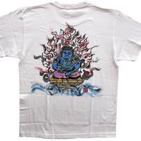【手描きTシャツ】不動明王オリジナル  白  彩色 綿生地