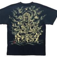 【手描きTシャツ】不動明王座像 黒 綿生地