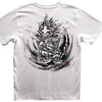 【手描きTシャツ 半袖 長袖】酒呑童子 白 コットン生地