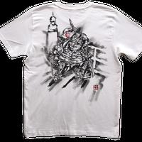 【手描きTシャツ】牛若丸と弁慶 白 コットン生地