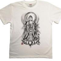 手描きTシャツ 仏画 No.19 阿弥陀如来 立像 白 綿生地 (半袖 長袖)