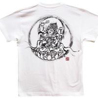 【手描きTシャツ】愛染明王 白 綿生地