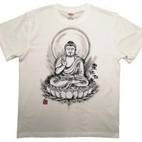 【手描きTシャツ】薬師如来 白 綿生地
