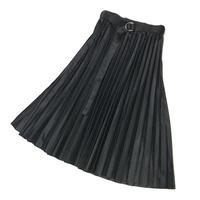 ベロアプリーツスカート (ブラック)