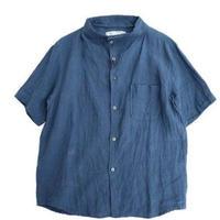 nisica(ニシカ)   ガンジーネックシャツ半袖  BLUE