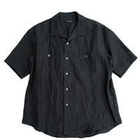 tilt The authentics(チルトザオーセンティックス)   Round Pocket Open Collar Linen Shirt   BLACK