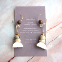 kicca jewelry // フープピアス ウッド シェル 天然石
