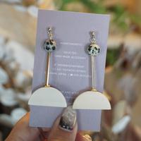 kicca jewelry //  ピアス&イヤリング ダルメシアンジャスパー ウッド ゴールド