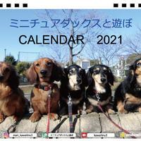【予約販売】 ミニチュアダックスと遊ぼ 2021年 卓上カレンダー全面 TC21003