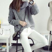 あたたかい デザインニット タートルネック ボリューム セーター