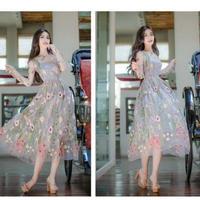 透け感 花柄 刺繍 レース 長袖 ロング ドレス ワンピース