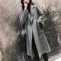 ロング ウール コート 暖か シンプル ストライプ柄 上品 3色