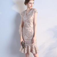 ワンピースドレス ベージュマーメードライン パーティー 刺繍