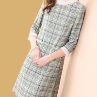 チェック柄 ワンピース ドレス 大人 上品 フォーマル 袖刺繍