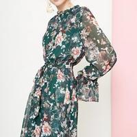 花柄 プリント エレガント フレア キュート ワンピース ドレス