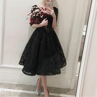 背中あき シンプル 黒 花柄 レース Vネック ミモレ丈 ドレス