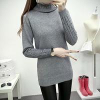 シンプル ふわふわ 無地 タートル ツイスト編み ニット セーター