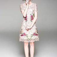 エレガント 華やか 透け感 花刺繍 レース Aライン ワンピース