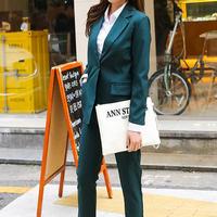 通勤 シンプル ダークグリーン 単色 パンツスーツ セットアップ