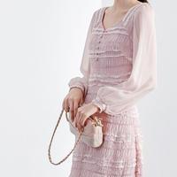 可愛い シフォン ドレス ワンピース エレガント 上品 シースルー