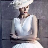 シンプル フレア ノースリーブ ミモレ丈 ホワイト ドレス