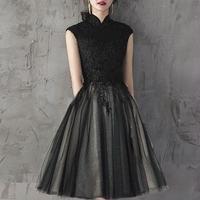 ふんわり ノースリーブ 黒 レース 刺繍 膝丈 フレア ドレス