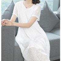ホワイト シフォン ドレス ロング スカート ワンピース 上品