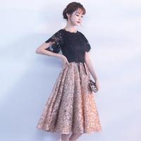 可愛い フレア 花モチーフ レース 半袖 バイカラー ドレス