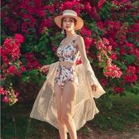 可愛い ビキニ 花柄 リボン ハイウエスト セパレート ビーチ