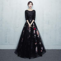 可愛い 花柄 レース フラワー プリント ブラック ロング ドレス