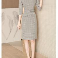 千鳥格子 ワンピース ドレス フォーマル 大人 上品 シンプル
