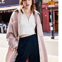 ストレート ウールコート アウター ジッパー付き ピンク 可愛い