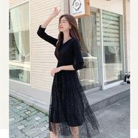 ブラック フォーマル ドレス ワンピース シフォン ドット柄