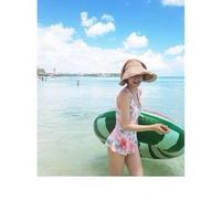 フリル ペプラム 花柄 ビーチ リゾート ワンピース水着 2色