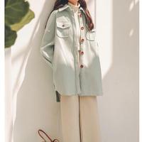 ロング ウール コート 無地 可愛い 大きめボタン シンプル 2色