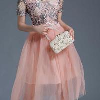 エレガント 華やか 刺繍 ピンク シフォン ワンピース