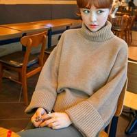 可愛い シンプル ゆったり ラグランスリーブ タートル セーター