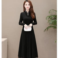 裾広がり 形キレイ ロング パーティ ドレス ワンピース 長袖