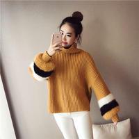 可愛い ゆったり 無地 長袖 ケーブル タートル ニット セーター