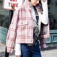 ショート丈 暖かい チェック柄 ジャケット アウター 秋冬 2色