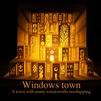 完成品【ポップアップカード】窓の街