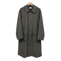 IBERICO WOOL HIGH CUT KERSEY MELTON BALMACAAN COAT
