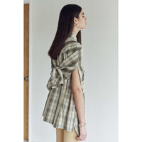 Li/C HIGHCOUNT CHECK OVER SLIT SHIRT