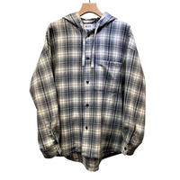 PURE WOOL CHECK OVER HOODIE SHIRT