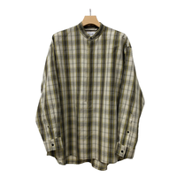 Li/C HIGHCOUNT CHECK BAND COLLAR PULLOVER SHIRT