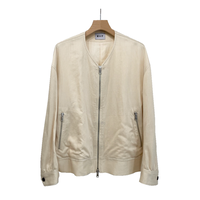 LINEN BLEND DOBBY STRIPE ZIP-UP BLOUSON