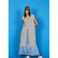WASHABLE C/PL CHECK ZIP UP N/SLEEVE ONE-PIECE