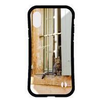 フランスの美しい村のネコ 耐衝撃グリップスマホケース【iPhone Max,Plus系】